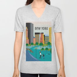 New York City, New York - Skyline Illustration by Loose Petals Unisex V-Neck