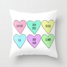 Realistic Valentine's Conversation Hearts Throw Pillow