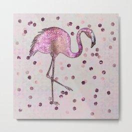 Glamorous Flamingo pink and rose gold sparkle Metal Print