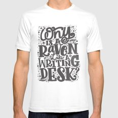 WHY IS A RAVEN LIKE A WRITING DESK White MEDIUM Mens Fitted Tee