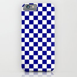 Jumbo Blue and White Australian Racing Flag Checked Checkerboard iPhone Case
