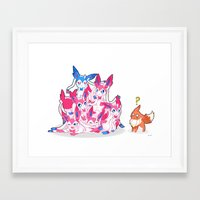 sylveon Framed Art Prints featuring Sylveon Pile by Black Howl