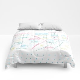 New Orleans, Louisiana Illustrated Calligraphy Map Comforters