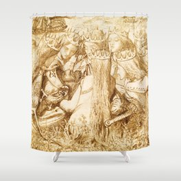 """Dante Gabriel Rossetti """"King Arthur and the Weeping Queens"""" Shower Curtain"""