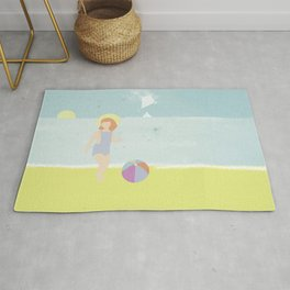 Girl at the beach with kite and ball in the 1950's vintage Rug