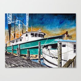 shrimp boat art print Canvas Print