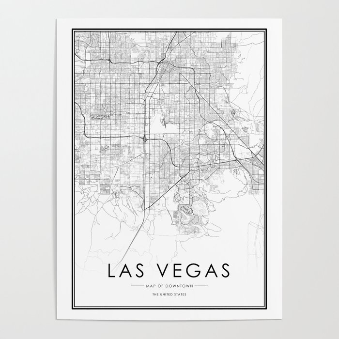 Las Vegas City Map United States White and Black Poster by victorialyu