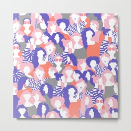 Sisterhood // Womenpower: Different women with bold colors, grouped in a colorful pattern Metal Print