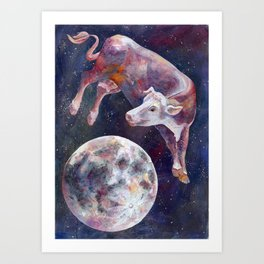 The Cow Jumped Over The Moon - III Art Print