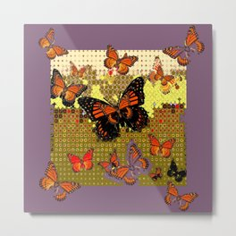 Puce color Abstracted Black & Orange Monarch Butterflies Metal Print