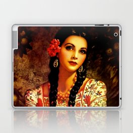 Jesus Helguera Painting of a Mexican Calendar Girl with Braids Laptop & iPad Skin