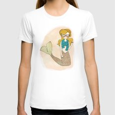 Hipster Mermaid White Womens Fitted Tee LARGE