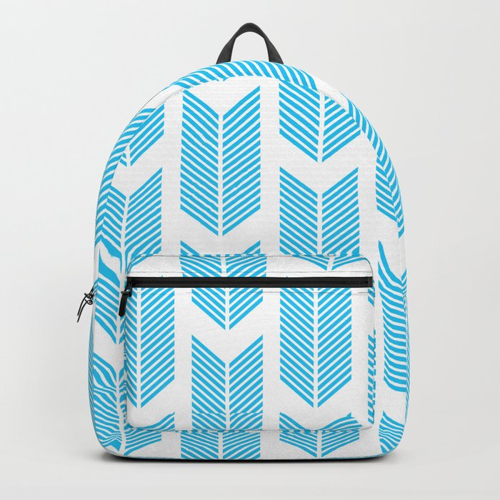 Simple Aqua and white arrow chevron - for your summer on #Society6 Backpack