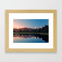 Mountains reflecting in lake Matheson, New Zealand Framed Art Print