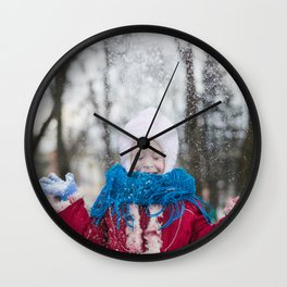 Girl Throwing Snow in Winter Wall Clock
