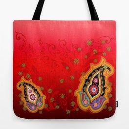 red jewel paisley border Tote Bag