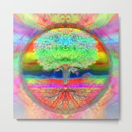Neon Glow Tree of Life Metal Print