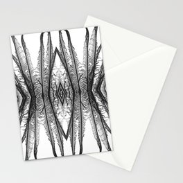 Ferns Abstract 1 - Black and White Stationery Cards