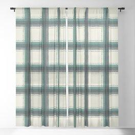 plaid-pine green Sheer Curtain