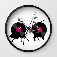 bicycle Wall Clocks featuring bicycle by mark ashkenazi
