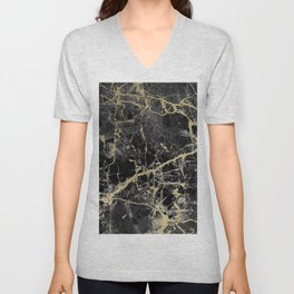Chic black faux gold modern abstract marble Unisex V-Neck