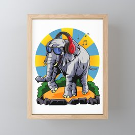 Hipster Elephant | Cool Glasses Headphones Swag Framed Mini Art Print
