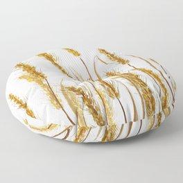 golden wheat field watercolor Floor Pillow