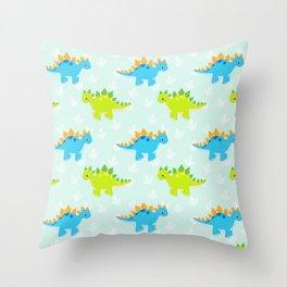 Cute Dinosaur Nursery Illustration – Green and Blue stegosaurus Throw Pillow