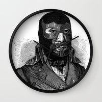 wrestling Wall Clocks featuring Wrestling mask by DIVIDUS