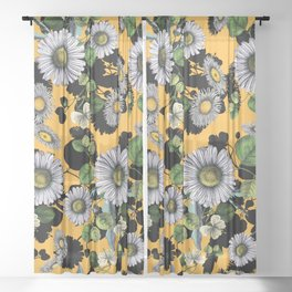 Daisy Floral Pattern Sheer Curtain