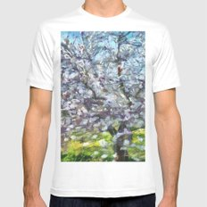 Almond Blossom White Mens Fitted Tee MEDIUM