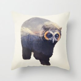 Owlbear in Mountains Throw Pillow