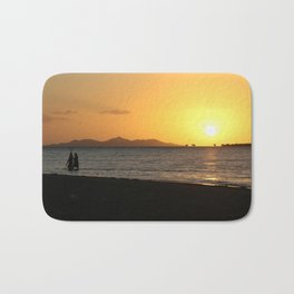 Fishermen at sunset Bath Mat