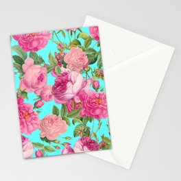 Vintage & Shabby Chic - Summery Rose Flowers Garden Pattern Stationery Cards