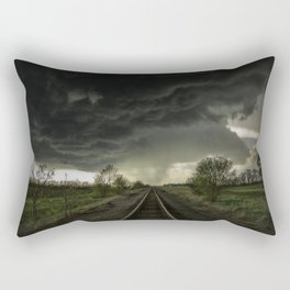 Give Me Shelter - Storm Over Railroad Tracks in Kansas Rectangular Pillow