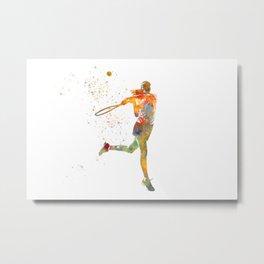 Tennis player in watercolor Metal Print