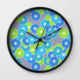 Art Deco Stylized Flower Pattern Blue and Lime Green Wall Clock