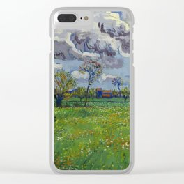 Meadow With Flowers Under a Stormy Sky Clear iPhone Case