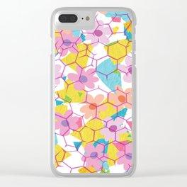 Digital spring flowers behind grid Clear iPhone Case