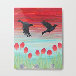 crows, tulips, & snails Metal Print