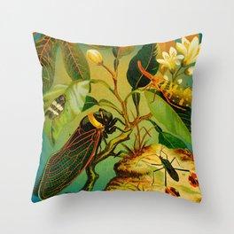 Vintage Cicada  Throw Pillow