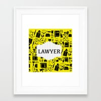 lawyer Framed Art Prints featuring Purple Lawyer by Be Raza