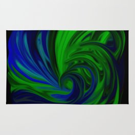 Blue and Green Wave Rug