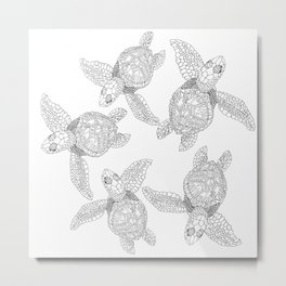 The turtles ink are swimming in white sea by Jana Sigüenza Metal Print