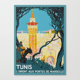 Tunis Tunisia - Vintage Africa Travel Poster Canvas Print