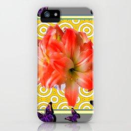 Grey Purple Butterflies Pink Amaryllis Flowers Yellow Pattern iPhone Case