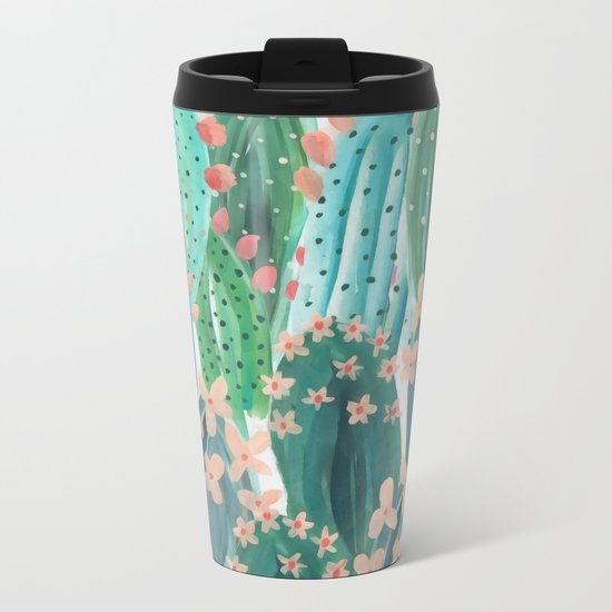Colorful watercolor cacti Metal Travel Mug