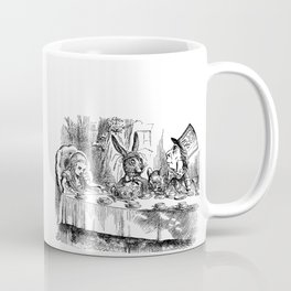 Vintage Alice in Wonderland Mad Hatter & rabbit tea party antique goth emo book gothic drawing print Coffee Mug