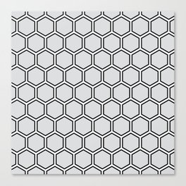 Light gray, white and black hexagonal pattern Canvas Print