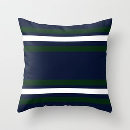 Navy and Green Bold Stripes Throw Pillow
